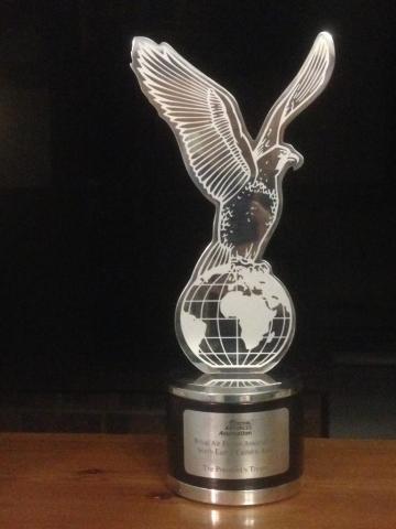 South East and East Area President's Trophy. RAF Association Eagle on World Emblem