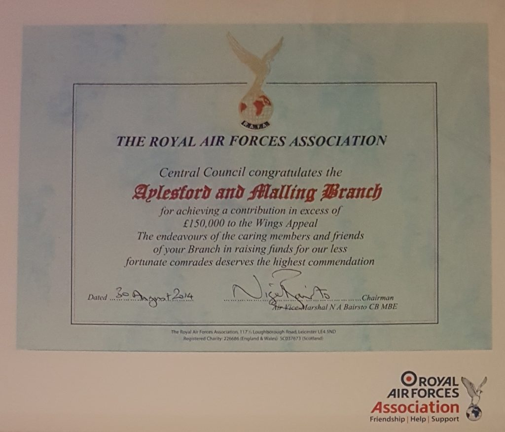 Certifcate marking £150,000 raised for Wings Appeal